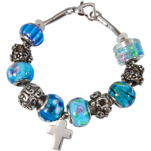 Remembrance Beads Celestial Blue Urn Charm Bracelet