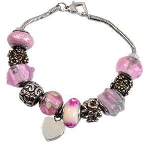 Remembrance Beads Memorial Pink Urn Charm Bracelet
