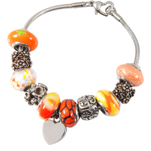 Remembrance Beads Sunset Orange Urn Charm Bracelet