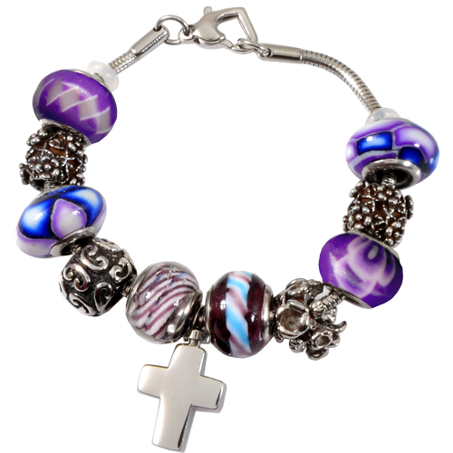 Remembrance Beads Forever Purple with Urn Charm Bracelet