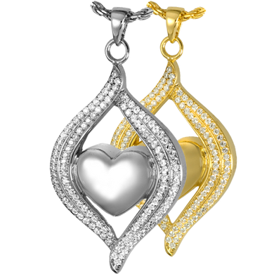 Teardrop Ribbon Heart Urn Pendant