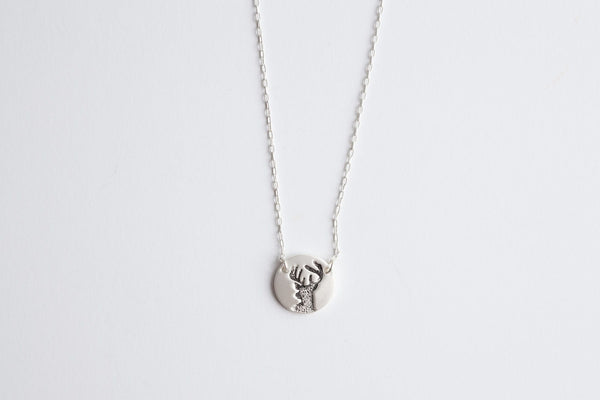 Antler silver necklace