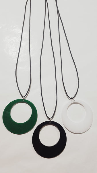Perspex circle cutout pendant necklace