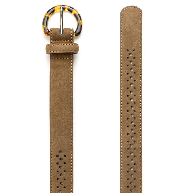 Belt Tan Suede Tort Buckle