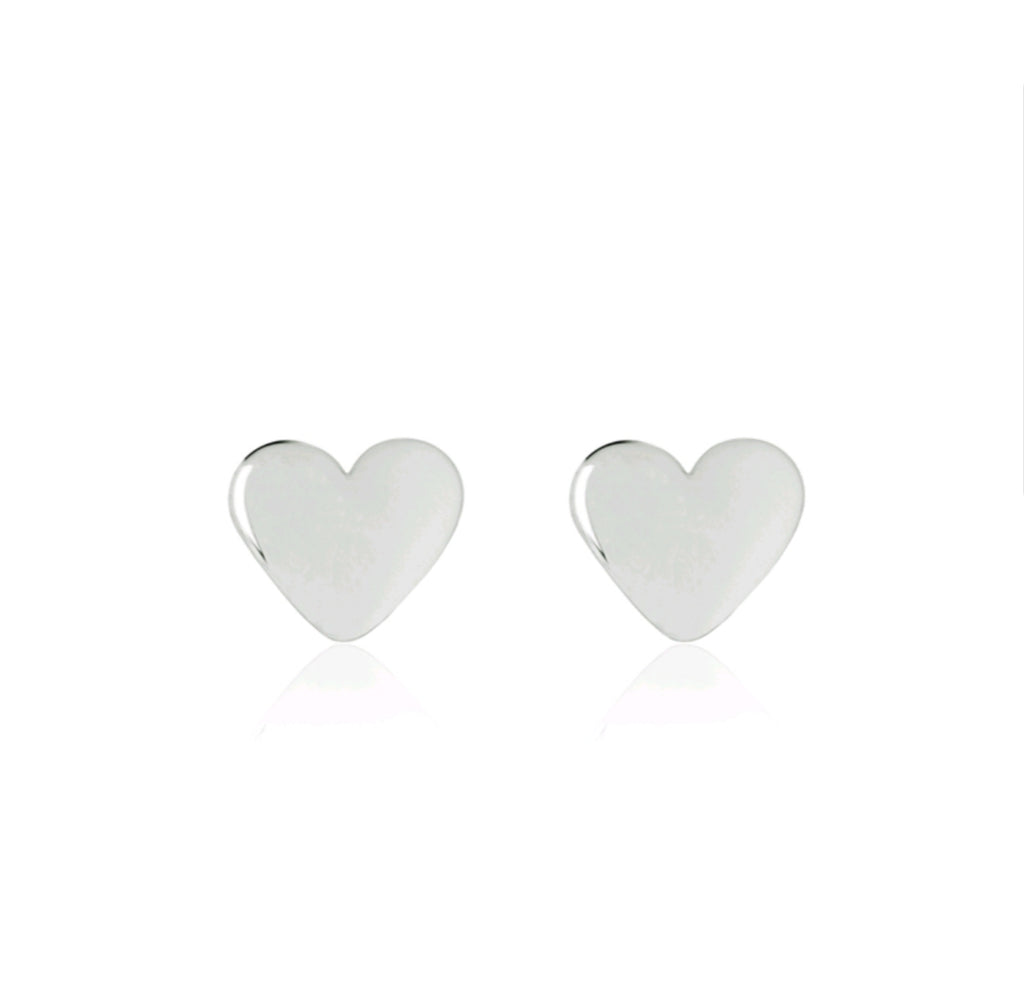 Shiny Baby Heart Earrings - sterling silver
