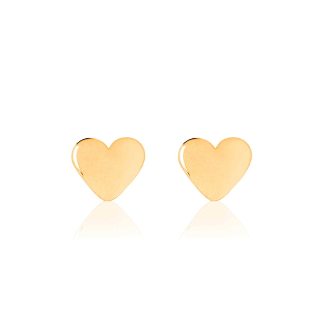 Shiny Baby Heart Earrings - Yellow Gold Vermeil