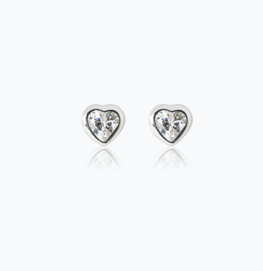 Sparkle Heart Earrings - Sterling Silver