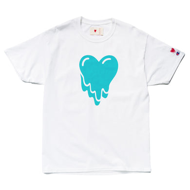 Emotionally Unavailable Turquoise Heart Logo Tee White
