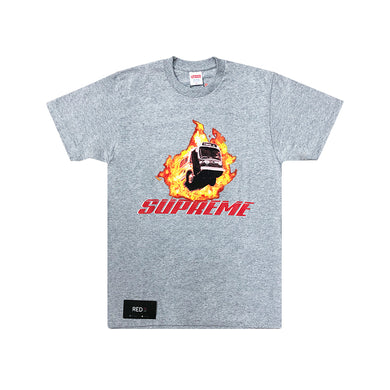Supreme Bus On Fire Tee Grey