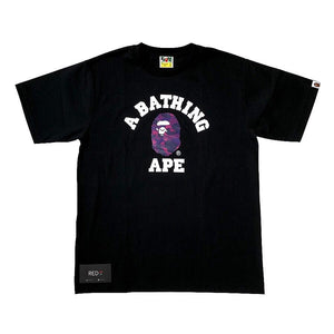 A Bathing Ape Purple Camo College Tee Black