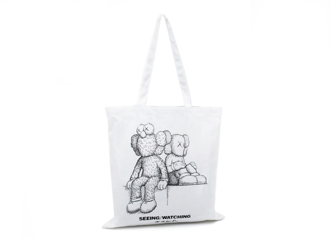 Kaws Seeing/Watching Sketch Tote Bag White