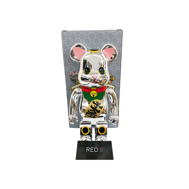 Medicom Toy Maneki Neko (Open Eyes) (千萬兩) 400% Bearbrick Silver Chrome