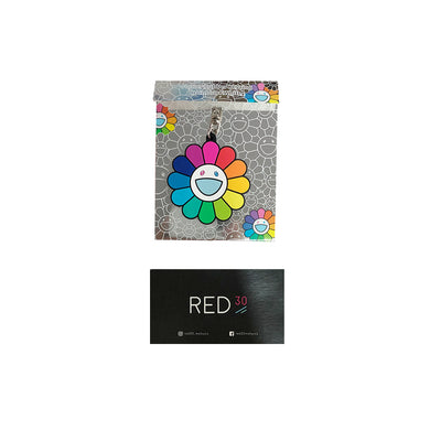 Murakami Flower Rubber Keyring Black
