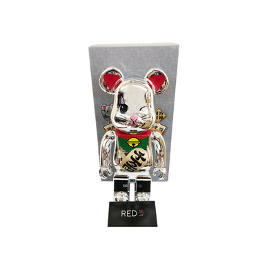 Medicom Toy Maneki Neko (Blink Eyes) (千萬兩) 400% Bearbrick Silver Chrome