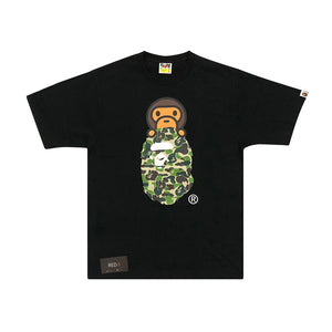 A Bathing Ape Green Camo Bape Head Baby Milo Tee Black
