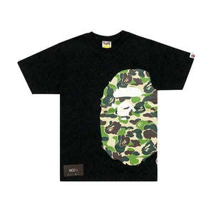 A Bathing Ape Side Bape Head Green Camo Tee Black