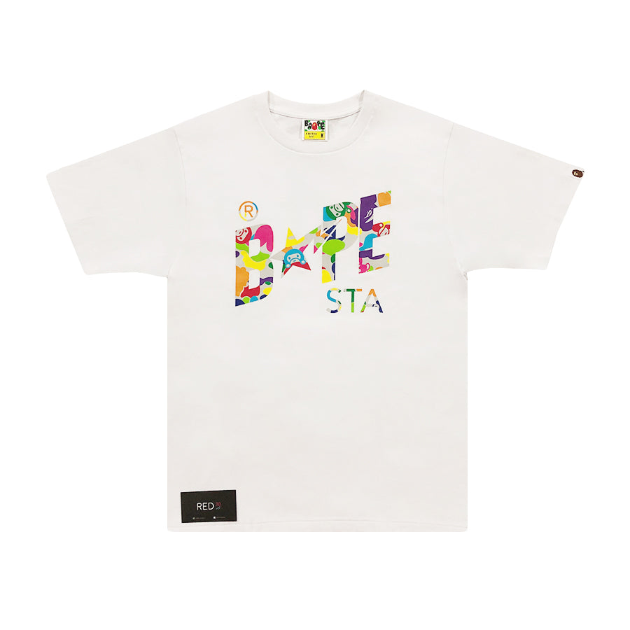 A Bathing Ape Multicolor Camo Bape Sta Tee White