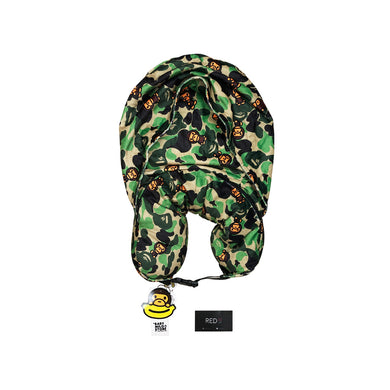 A Bathing Ape Hooded Travel Pillow Green Camo