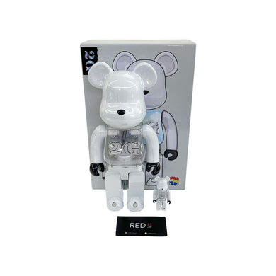Medicom Toy X 2G (With Light) Bearbrick Chrome White