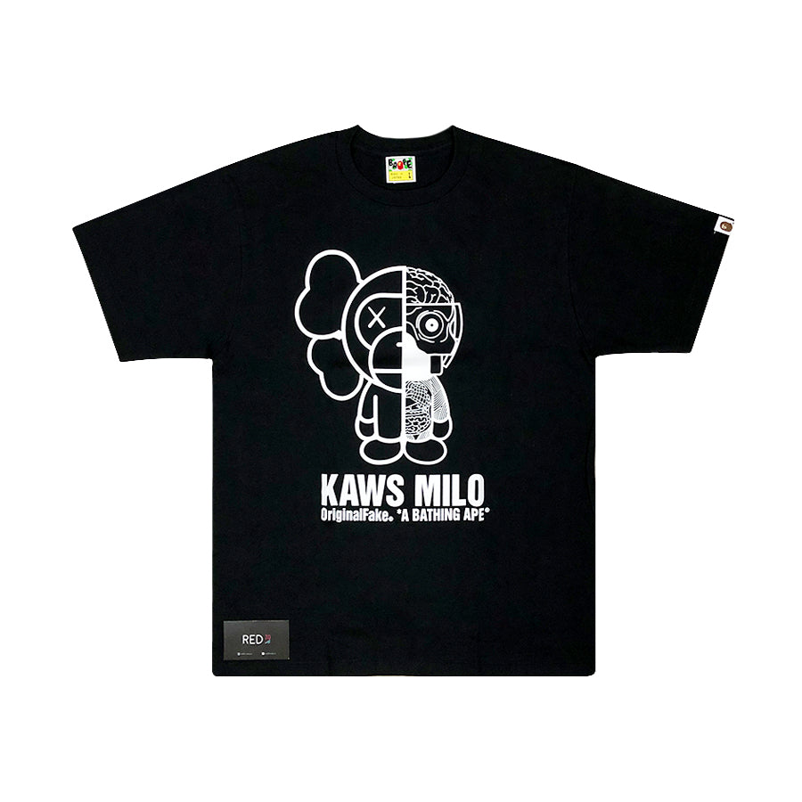 Kaws Original Fake X Bape Dissected Milo Tee Shirt Black