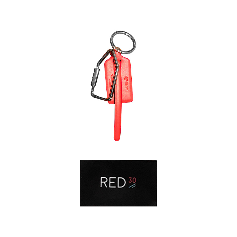 Off White Ziptie Keyring Red