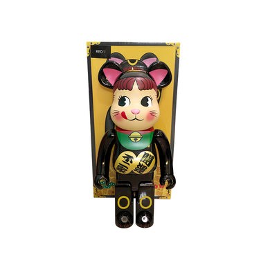 Medicom Toy Fujiya Peko Maneki Neko (Green Collar) 1000% Bearbrick Chrome Black
