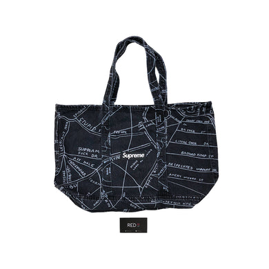 Supreme Gonz Map Denim Tote Bag Black