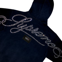 Load image into Gallery viewer, Supreme Rhinestone Script Hoodie Navy (CNY)