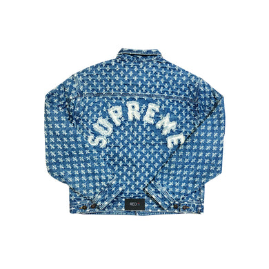 Supreme Hole Punch Denim Trucker Jacket Blue