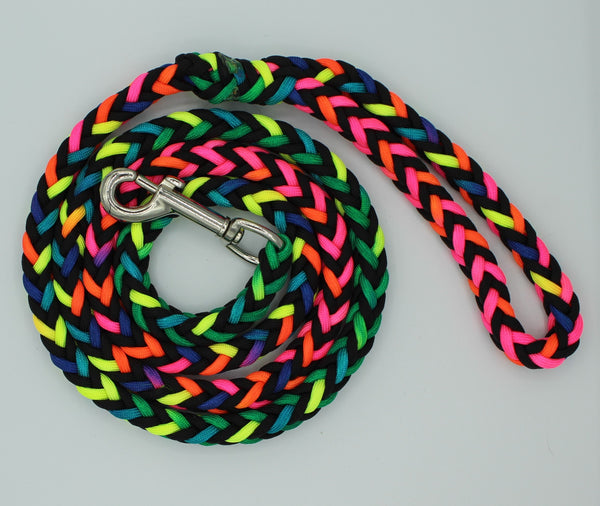 Rainbow and Black Paracord Leash by The Leash Ladies