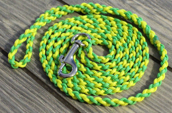 Green and Yellow Twisted Paracord Dog Leash by The Dog Ladies