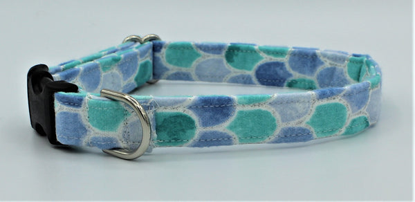 Blue and Teal Mermaid Scales Dog Collar