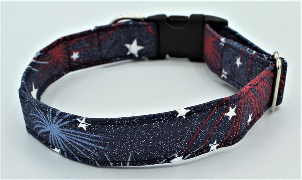 Fireworks and Stars Standard Dog Collar
