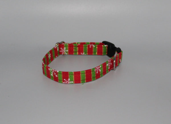 Christmas Red and Green Strips Standard Dog Collar