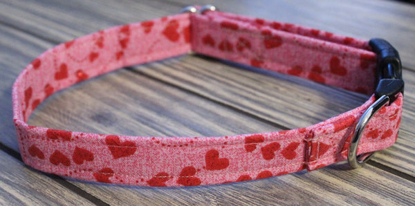 Pink with Red Hearts Dog Collar