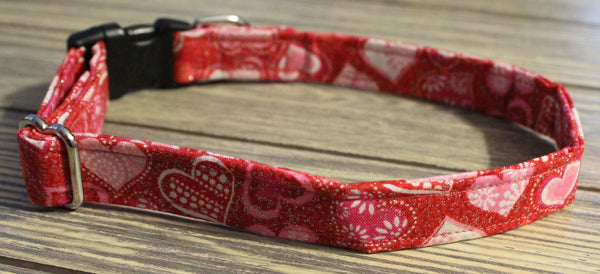 Red with Hearts Fabric Collar