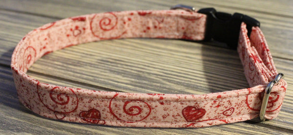 Red Hearts and Swirls Dog Collar