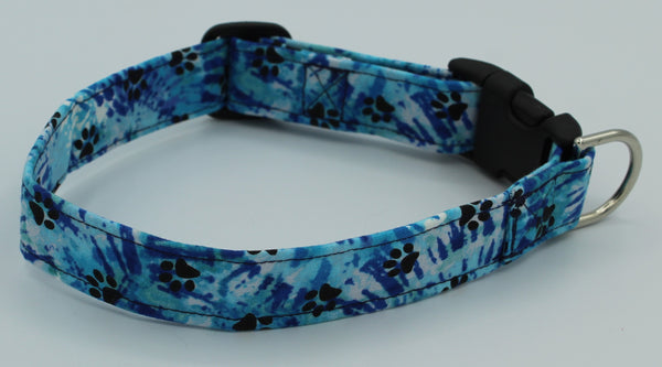 Blue Tye Dye Fabric Collar by The Leash Ladies