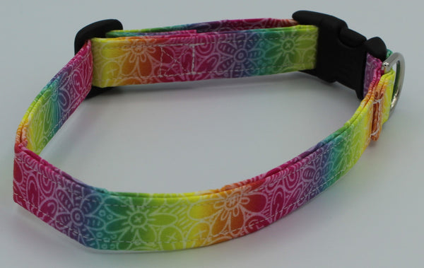 Rainbow Flowers Dog Collar