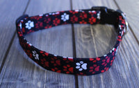 Red and White Paws Stardard Dog Collar