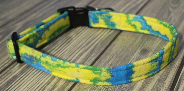 Blue and Yellow Flannel Dog Collar