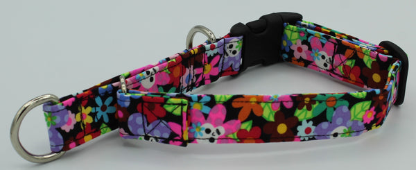 Flowers and Skulls Limited Slip Collar by The Leash Ladies