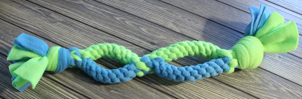 Neon Green/Teal Crazy 8 Tug Toy by The Leash Ladies