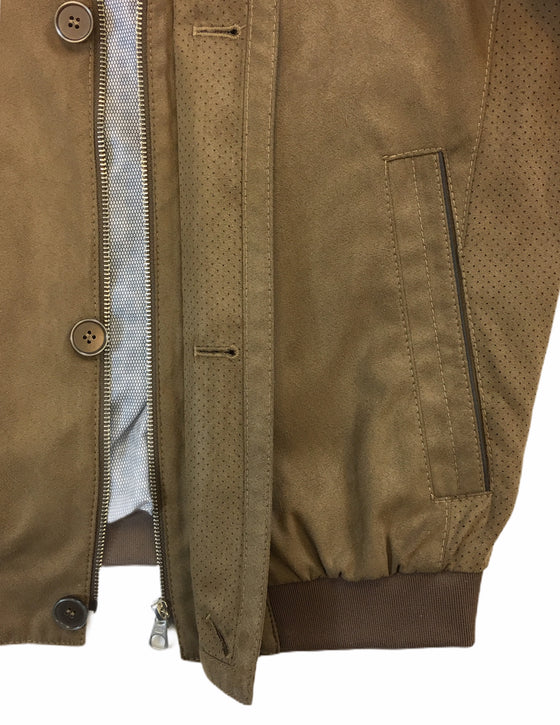 Bugatti bomber jacket in brown Microma Velours
