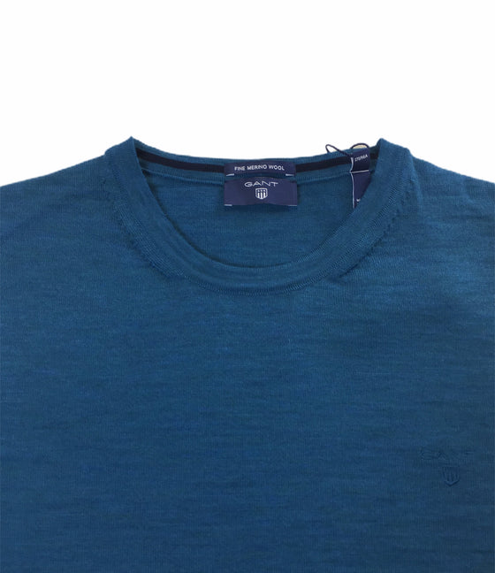 Gant fine merino wool crew neck knitwear in ink blue melange