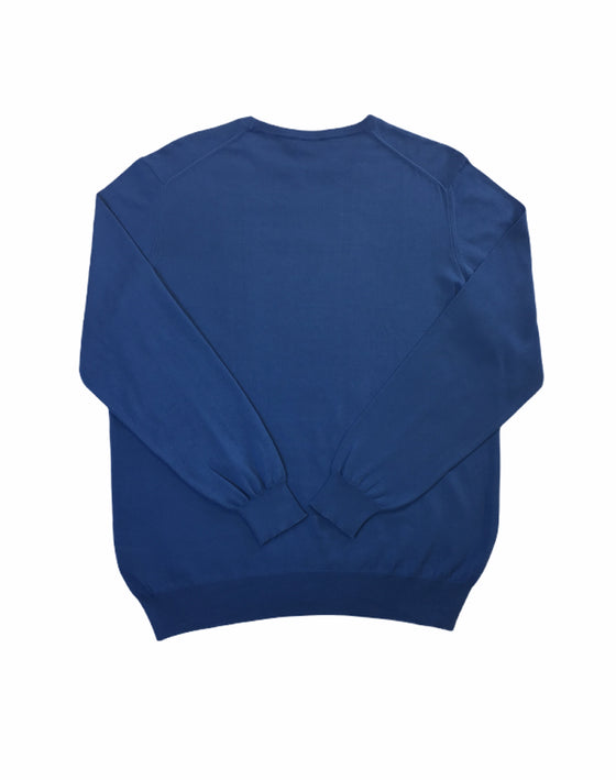 Hackett pima cotton crew neck knitwear in cobalt blue