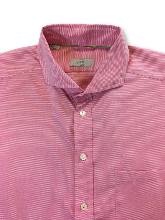 Eton slim fit cotton casual shirt in pink with subtle pattern-khakisurfer.com