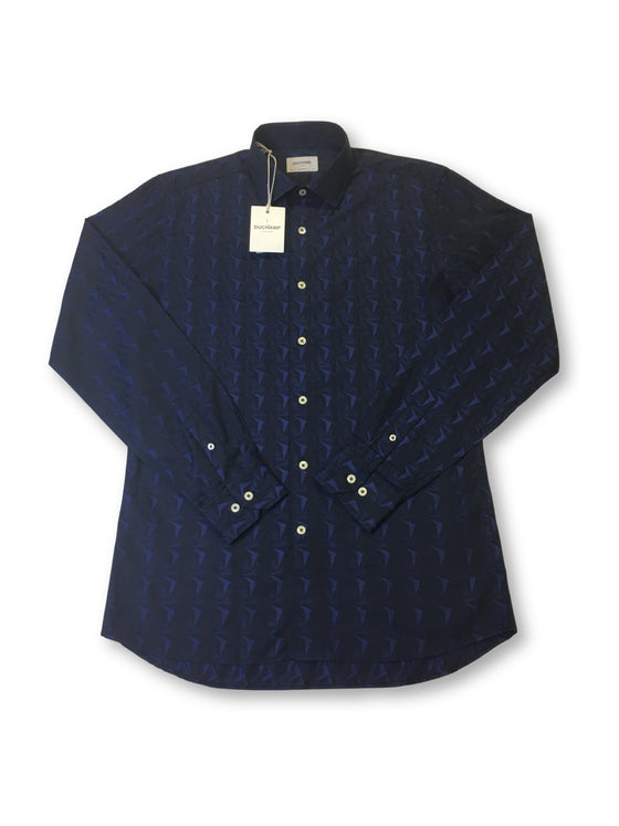 Duchamp tailored fit shirt in blue abstract star pattern- khakisurfer.com Latest menswear designer brands added include Eton, Etro, Agave Denim, Pal Zileri, Circle of Gentlemen, Ralph Lauren, Scotch and Soda, Hugo Boss, Armani Jeans, Armani Collezioni.