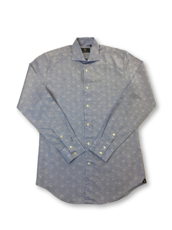 Circle of Gentlemen Mosi shirt in blue flower design cotton/linen mix- khakisurfer.com Latest menswear designer brands added include Eton, Etro, Agave Denim, Pal Zileri, Circle of Gentlemen, Ralph Lauren, Scotch and Soda, Hugo Boss, Armani Jeans, Armani Collezioni.