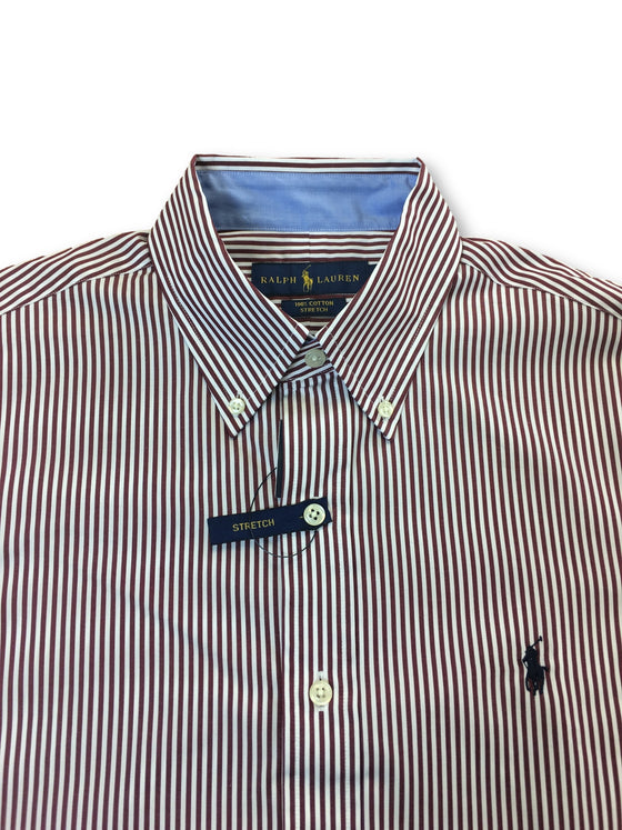 Ralph Lauren regular cotton stretch shirt in burgundy/white stripe- khakisurfer.com Latest menswear designer brands added include Eton, Etro, Agave Denim, Pal Zileri, Circle of Gentlemen, Ralph Lauren, Scotch and Soda, Hugo Boss, Armani Jeans, Armani Collezioni.